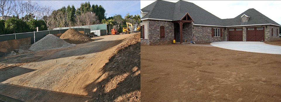 Dirt piles, land outside house